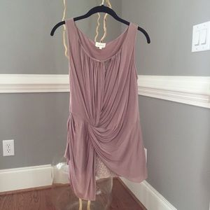 Anthropologie Deletta ruched mauve sleeveless top